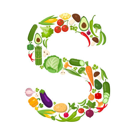 fruit and vegetable: S letter from vegetables. Green alphabet. Fresh green vegetables for healthcare. Healthy diet concept. All vegetables like carrot, onion, tomato, pepper, cucumber, cabbage.