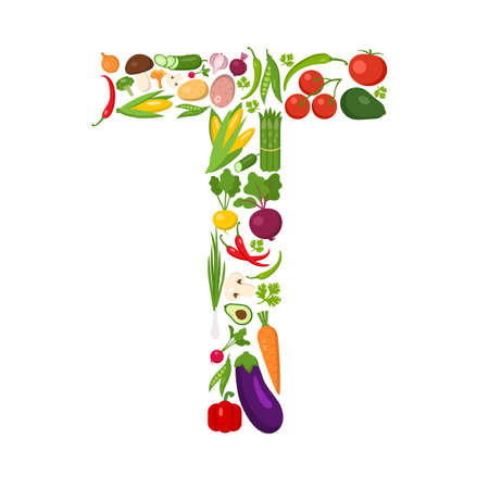 T letter from vegetables. Green alphabet. Fresh green vegetables for healthcare. Healthy diet concept. All vegetables like carrot, onion, tomato, pepper, cucumber, cabbage. Ilustração