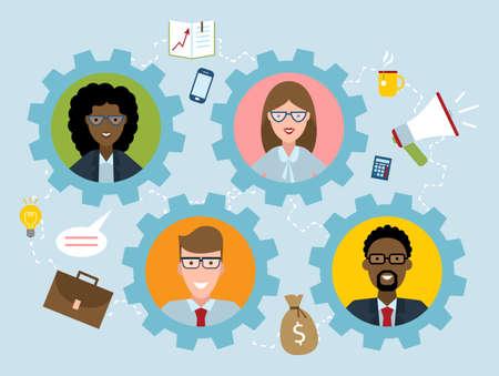 human resource: Human resource management flat design colorful vector illustration concept on blue background