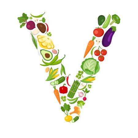V carta de verduras. Alfabeto verde. verduras frescas para la salud. concepto de dieta saludable. Todas las verduras como la zanahoria, cebolla, tomate, pimiento, pepino, col. Foto de archivo - 59690134