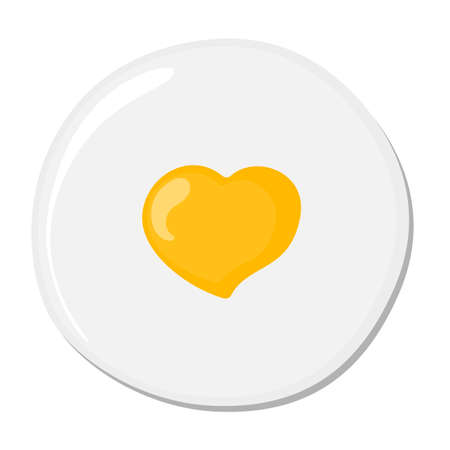 omelet: Isolated fried egg on white background. Protein nutrition breakfast. Fast meal. White and yolk. Morning cooking. Heart-shaped omelet. Illustration