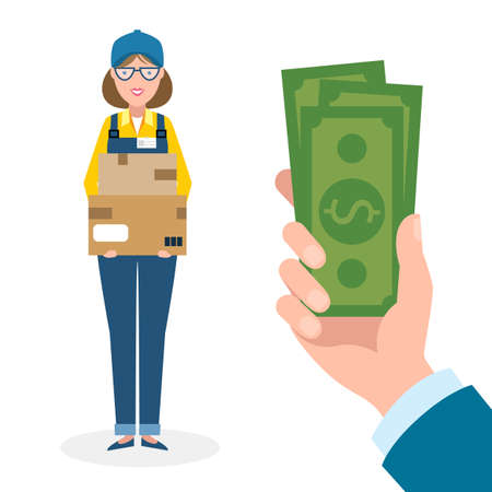 woman holding money: Handsome female cartoon character. Delivery woman gets money. Hand holding dollars for boxes. Happy smiling supplier or delivery aget.