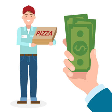 pizza man: Handsome male cartoon character. Pizza man gets money. Hand holding dollars for pizza. Happy smiling pizza boy. Fast delivery.
