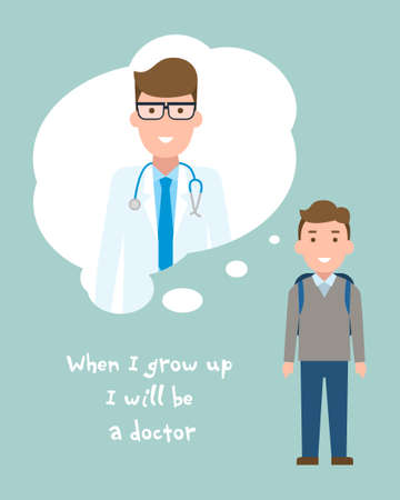 kid doctor: Kid wants to be a doctor poster. Smiling little boy chooses profession.