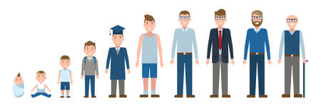 Male age set. Different stages of life. Male development from baby to grandfather. Isolated cartoon characters.