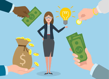 new account: Businesswoman gets money for the idea. Beautiful businesswoman has idea bulb. Selling new ideas, getting money bag. Illustration