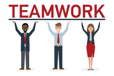 career success: Three businessmen holding placard teamwork. Success in business, career and communication. Happy partership helps make good solution and achieve success. Illustration