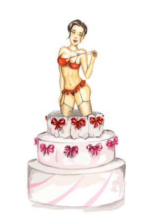 party girl: Watercolor Stripper out of cake. Isolated sexy curvaceous stripper go out of celebration cake.