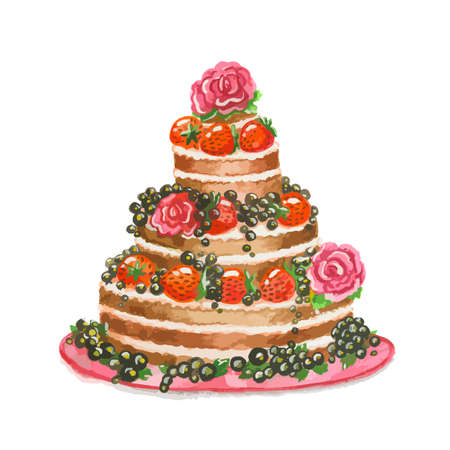 srawberries: Isolated beautiful watercolor cake with blackberries, srawberries and roses. Birthday present or holiday tasty meal. Illustration