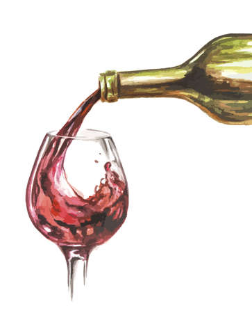 red wine pouring: watercolor glass pouring with red wine. Restaurant decoration. Sommelier concept. Illustration
