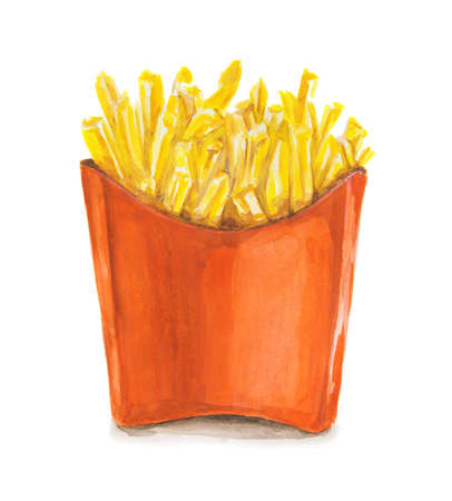 chain food: Watercolor french fries. Isolated red pocket of french fries. Unhealthy junk food cocept. Fast food chain, restaurant. Stock Photo