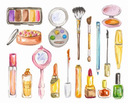 cosméticos acuarela establecidos en el fondo blanco. Productos de belleza para la mujer. colección del encanto.