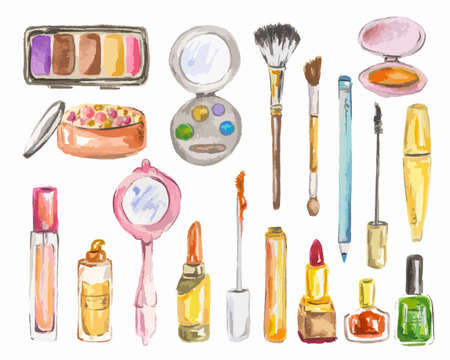 beauty products: Watercolor cosmetics set on white background. Beauty products for woman. Glamour collection. Illustration