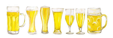 Watercolor beer glasses set on white background. Isolated different kinds of beer glasses. Illustration