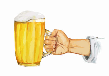oktober: Isolated watercolor hand with beer glass on white background. Beer glass with foam. Bar and pub concept.