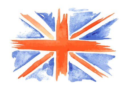 Watercolor flag of England on white background. Great Britain, United Kingdom symbol.