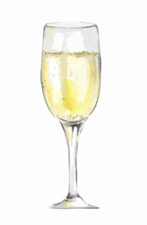 champagne celebration: Isolated watercolor champagne glass on white background. Celebration or holiday drinking. Symbol of new year.