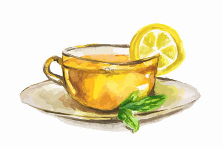 Watercolor tea cup with lemon slice and mint. Natural herbal tea. English tradition.