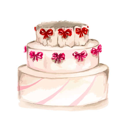 bright cake: Isolated watercolor pink cake on white background. Celebration cake with bows for restaurant menu and for bright holiday.