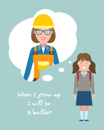 Kid wants to be a builder or engineer poster. Smiling little girl chooses profession. Illustration