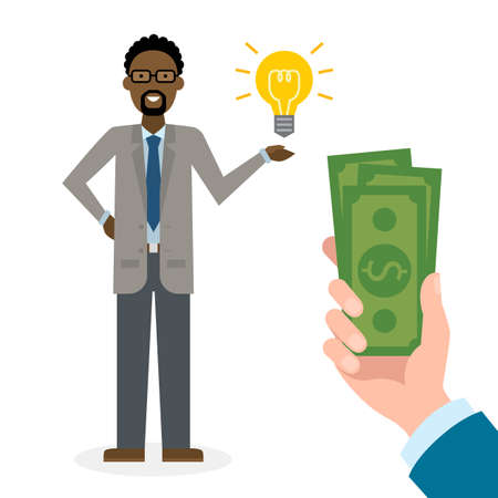 new ideas: Businessman buy idea. Handsome african american businessman has money bag. Selling new ideas, getting money. Funding concept.