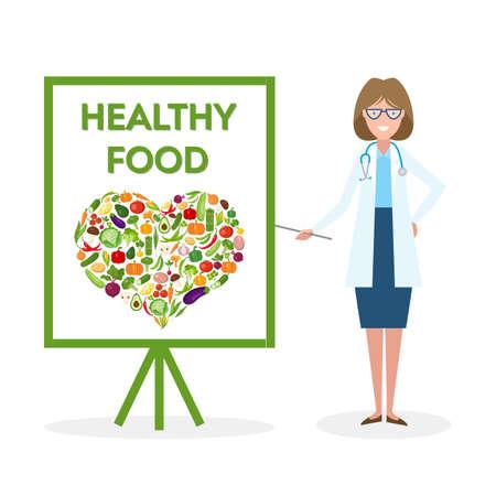 Docteur avec la bannière de la nourriture saine. Nutritionniste montre comment manger des aliments sains et frais. Les légumes verts pour le corps. En forme de coeur silhouette.
