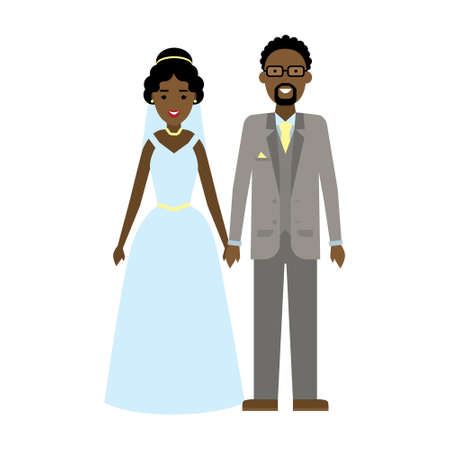 african american couple: Isolated young beautiful newweddies couple on white background. Happy smiling african american couple. Illustration