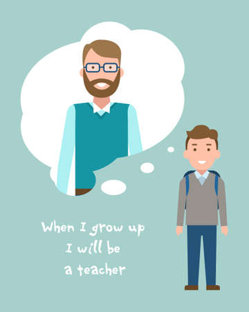 aspirational: Kid wants to be a teacher poster. Smiling little boy chooses profession.