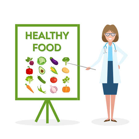 Medico con bandiera cibo sano. Nutrizionista mostra come mangiare cibo pulito e fresco. Verdure verdi per il corpo.