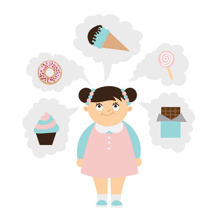 overweight kid: Chubby kid dreaming of sweets. girl with overweight. Isolated cartoon character. Wish in clouds. Illustration