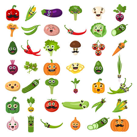 leek: Smiling vegetables set on white background. Cute fresh stickers or decoration for menu, book and more. Healthy lifestyle.