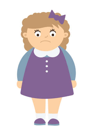 obesidad infantil: niño gordito con la obesidad. Aislado personaje de dibujos animados de grasa. Obesidad infantil. Chica con sobrepeso. Muchacha triste. Vectores