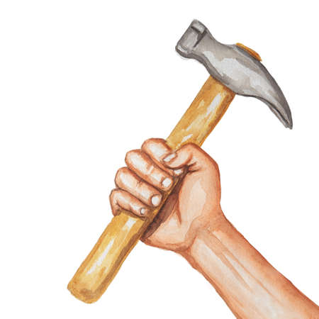 powerful: Fist holding a hammer, watercolor illustration