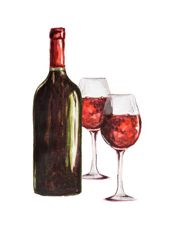 Watercolor red wine bottle with glasses. Isolated painted bottle of red wine. Restaurant menu and celebration drinking.