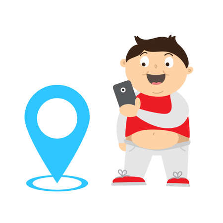 niños jugando videojuegos: Ilustración de dibujos animados de un niño con sobrepeso jugando videojuegos en su teléfono inteligente para perder peso. hallazgo chico gordo y monstruos de captura con gps. G U Í con los niños la obesidad utilizando videojuegos Concepto.