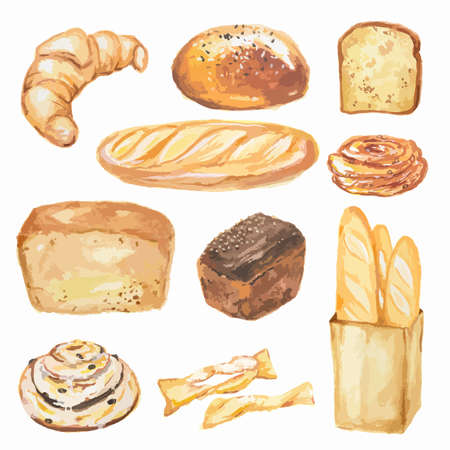 whole grain: Watercolor bread set. Different kinds of bread as baguette, loaf, cake. Protein and whole grain nutrition. Illustration