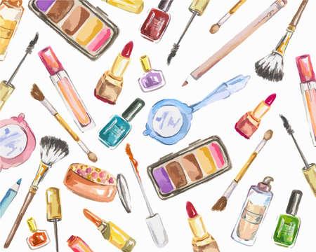 cosméticos acuarela establecidos en el fondo blanco. Productos de belleza para la mujer. colección del encanto. Ilustración de vector
