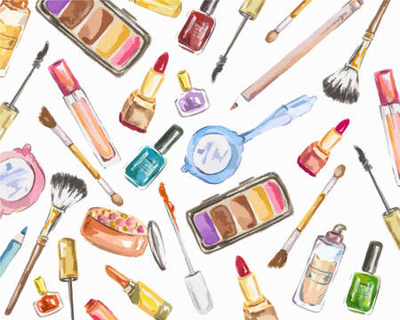 Watercolor cosmetics set on white background. Beauty products for woman. Glamour collection. Vettoriali