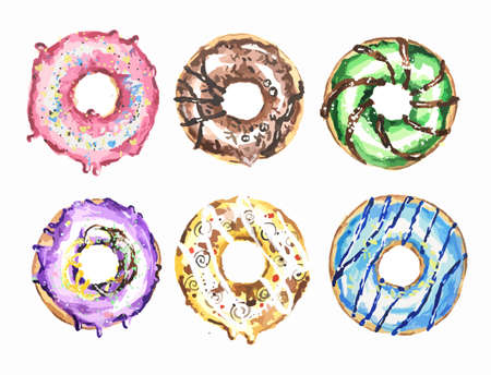 fillings: Watercolor donuts set. Colorful and fresh donuts with different fillings, sprinkles and glazed. Dessert for caffee and restaurant menu.