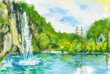 Watercolor landscape with waterfall and lake. Summer and spring nature. Green forest with blue sky and fast stream. Illustration