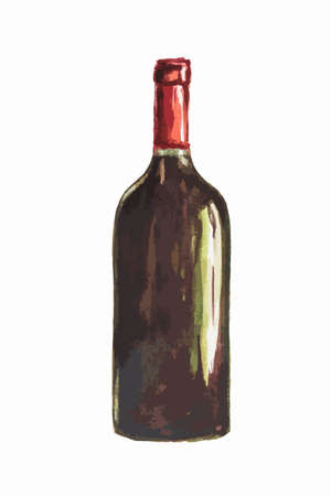 unlabeled: Isolated watercolor wine bottle on white background. Unlabeled bottle of alcohol is symbol of elegance, party or holiday relaxing.