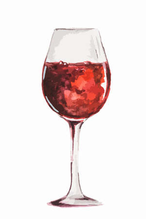 Isolated watercolor red wine glass on white background. Concept of celebration, relaxing or restaurant menu. Illustration