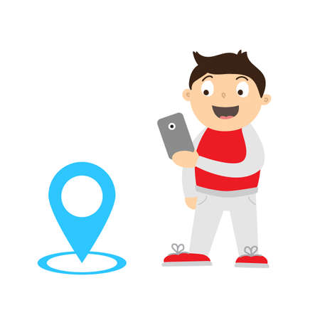 ni�os jugando videojuegos: Cartoon illustration of a kid playing video game on his smartphone for keep fit. Boy finding and catching monsters with gps. Keeping with children healthy using video games concept.