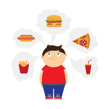overweight kid: Smiling chubby kid dreaming of fast food. Boy with overweight. Isolated cartoon character. Wish in clouds.