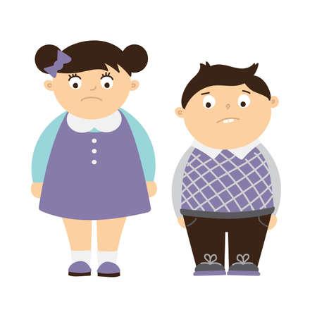 흰색 배경에 고립 된 슬픈 지방 어린이입니다. 어린이 비만과 괴롭 히는 과체중 아이의 개념. 슬픈 소년과 소녀입니다.