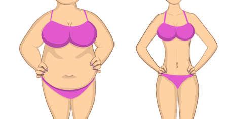 지방에서 슬림하고 건강한 몸. 전후 개념. 변화하는 생활 양식 및 몸 모양.