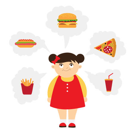 overweight kid: Smiling chubby kid dreaming of fast food. Girl with overweight. Isolated cartoon character. Wish in clouds. Illustration