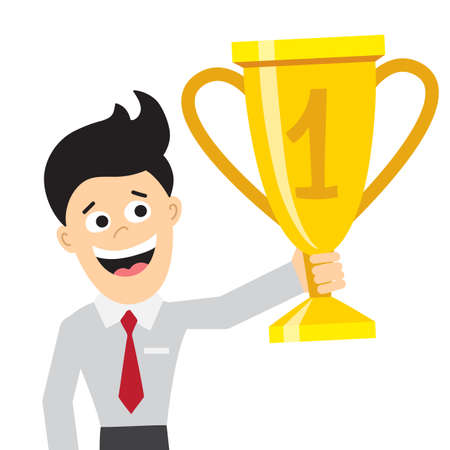 Businessman with trophy. Isolated happy cartoon character. Concept of success, win and achievement. Happy champion and leader.