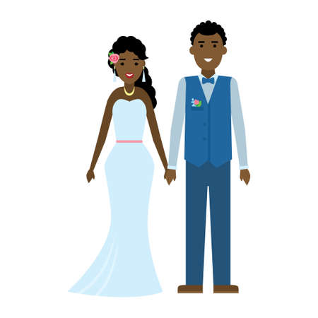 african american couple: Isolated young beautiful newweddies couple on white background. Smiling african american happy couple.