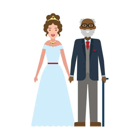 Isolated young bride with old husband on white background. Happy moment near wedding altar. Illustration